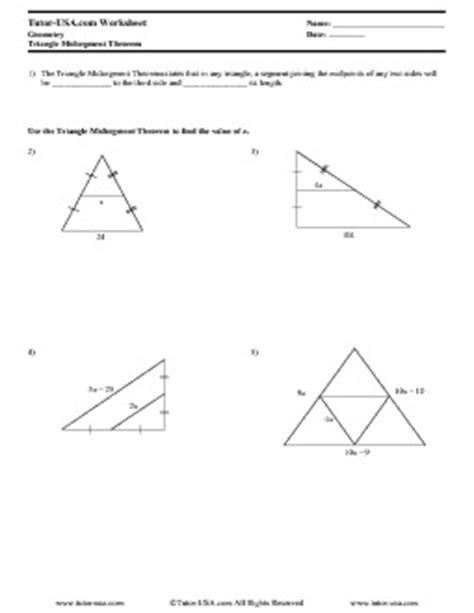 Worksheet Triangle Midsegment Theorem  Geometry Printable