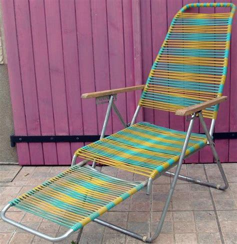 chaise longue fils scoubidou jaune et turquoise 233 es 50 60 233 es vintage 1940 1960
