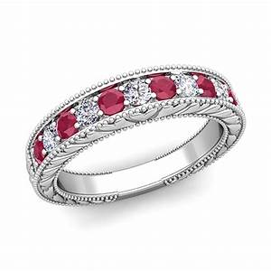 Vintage Diamond And Ruby Wedding Ring Band In 18k Gold