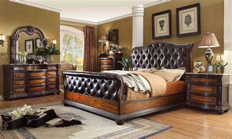 angelina antique brown button tufted leather bedroom set