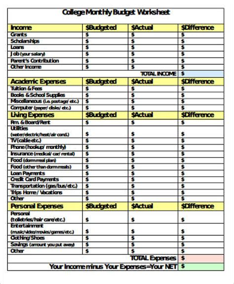 college student budget sample  examples  word