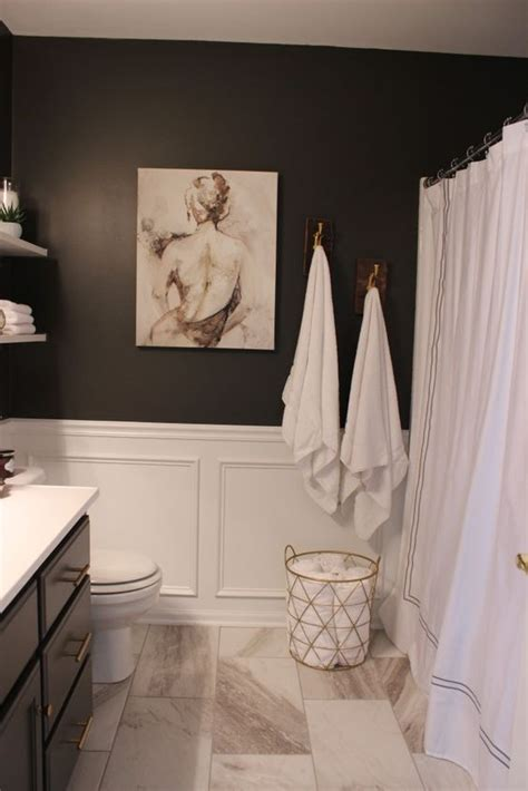 White Wainscoting Bathroom by Marble Tiles Black Walls And White Wainscoting For A