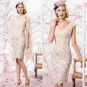 2015 beige mother of the bride dresses cheap v neck knee With robe style guinguette