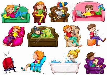 Doing Clipart Activities Different Cartoon Asked Children