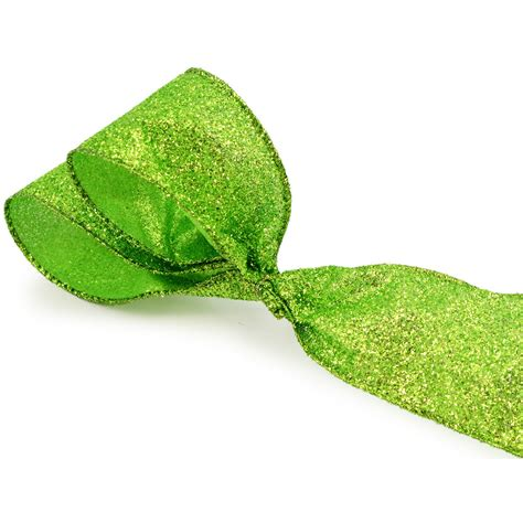 "25"" Lime Green Fuzzy Glitter Ribbon (10 Yards) [rw5866f8"