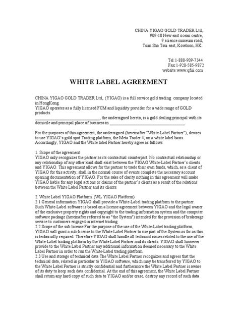 White Label Agreement | Law Of Agency | Liquidation