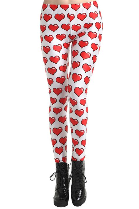 ROMWE | ROMWE u0026quot;Red Heartu0026quot; Print White Leggings The Latest Street Fashion