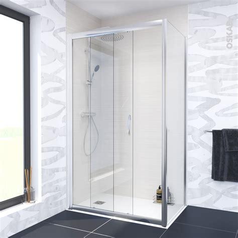porte de coulissante olympe 120 cm verre transparent oskab