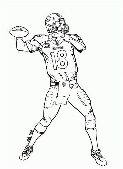 Coloring Pages Football Broncos Denver Printable Cool