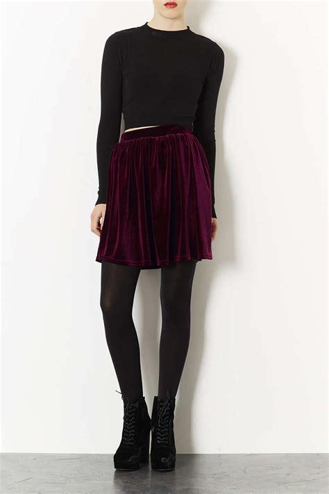 lyst topshop burgundy velvet skater skirt  purple