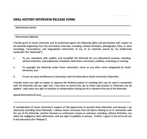 interview release form templates   sample