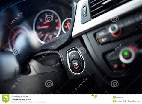 Car Start And Stop Button. Modern Car Interior With