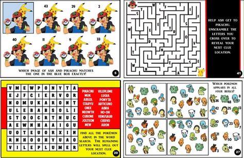 pokemon trivia treasure hunt partygamesplus