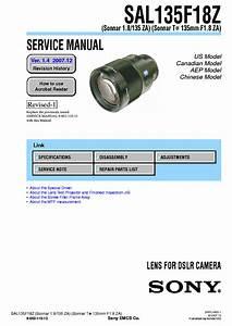 Sony Sal135f18z Sonnar T 135mm F1 8 Za Service Manual