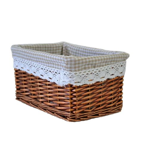 Basket Storage by Willow Wicker Storage Basket With Liner For Home