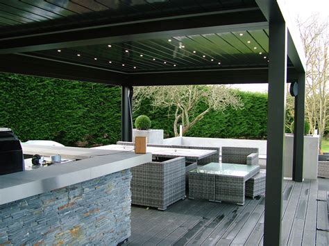 camargue louver canopy  outdoor kitchen  hot tub retractable canopies