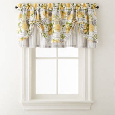 kitchen curtains green home expressions lemon zest rod pocket tie up valance 1059