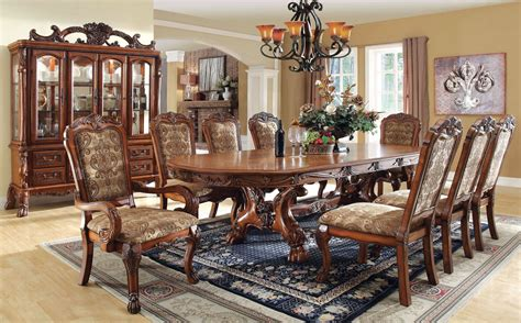 medieve antique oak rectangular extendable trestle dining