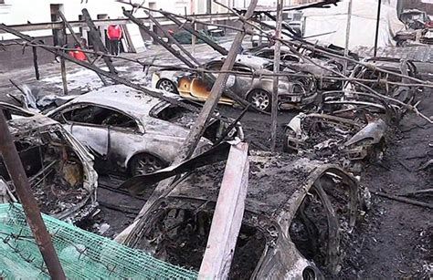 Luxury Cars Destroyed In Suspected Arson Attack In Moscow