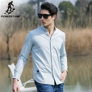Pioneer Camp 2017 new fashion men shirts solid slim fit ...
