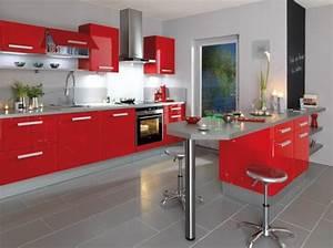 Cuisine rouge alinea for Idee d co cuisine rouge