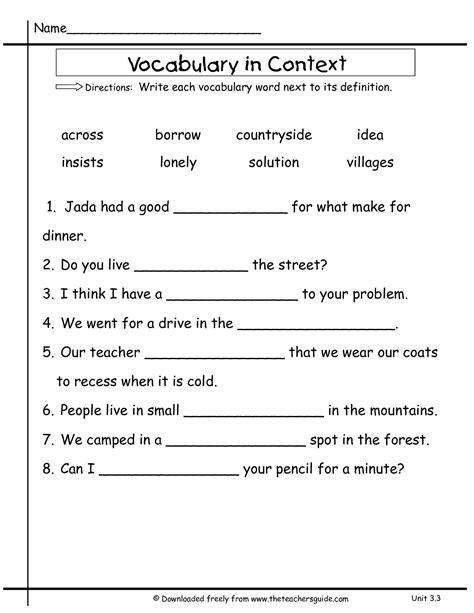 vocabulary worksheets 2nd grade breadandhearth