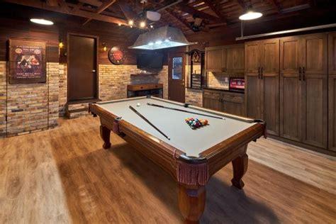 brown rustic game room  pool table hgtv