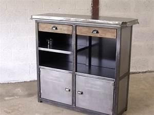 Bar Style Industriel : meuble bar metal zinc meuble de style industriel bois et acier sur mesure micheli design ~ Teatrodelosmanantiales.com Idées de Décoration