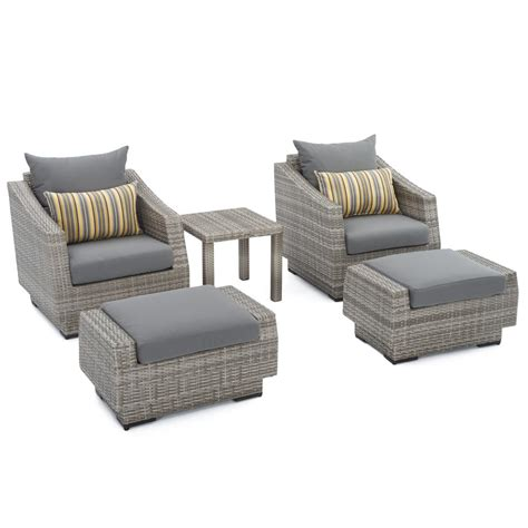 patio set with ottoman rst brands cannes 5 piece wicker patio club chair and