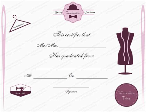 Graduation Gift Certificate Template Free by Sewing Class Graduation Certificate Template
