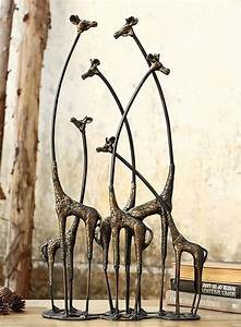 Towering Giraffe Herd Family African Safari Statue Jungle