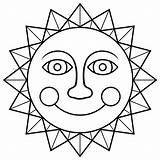 Sun Coloring Pages Smiling Coloringpage sketch template