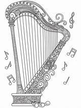 Harp Coloring Mandala Pages Music Drawing Adult Musical Adults Instruments Colorear Para Sheets Heart Quote Blanco Musica Notes Cool Drawings sketch template