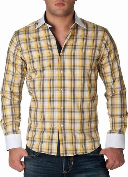 Shirts Plaid Yellow Check Fripe Mahrez Sleeve