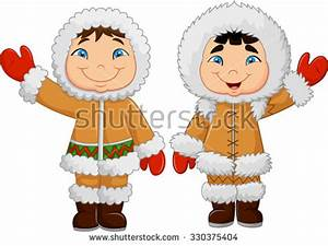 Eskimo clothes. Happy little kids waving . vector isolated ...