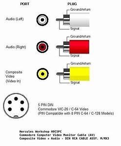 6 U0026 39  Commodore A  V Video Monitor Cable  Composite Video