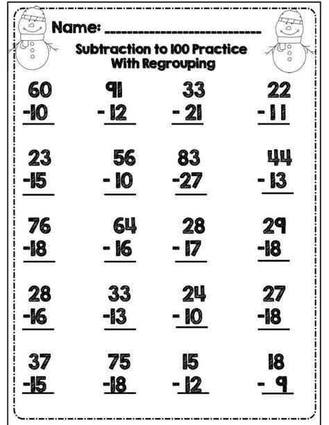 2nd grade common math subtraction worksheet no prep second grade common winter math ela packet