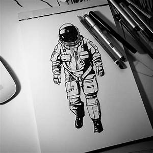 The Astronaut - brush pen and multiliner drawing. : drawing