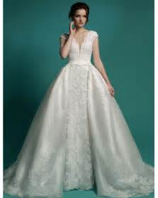 dressy dresses for weddings v neck cap sleeves wedding dresses with removable skirt 2016 lace wedding gown vintage bridal