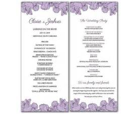 tea length wedding programs templates free diy purple poppy flowers wedding program microsoft word