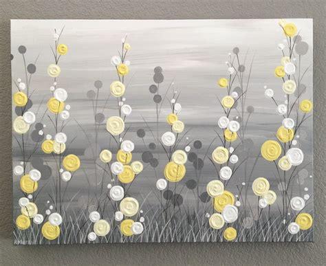18x24 Wall Art Yellow Grey Whimsical Flower Field Textured