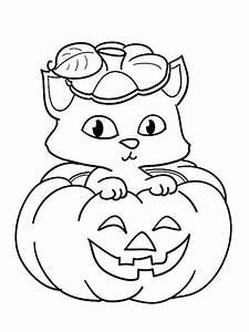 Citrouille Halloween Dessin : coloriage un chat mignon sur la citrouille d 39 holloween ~ Melissatoandfro.com Idées de Décoration
