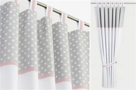 grey polka dot and pink nursery curtains