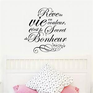 sticker citation reve ta vie walt disney stickers With déco chambre bébé pas cher avec commander un bouquet de fleurs en ligne