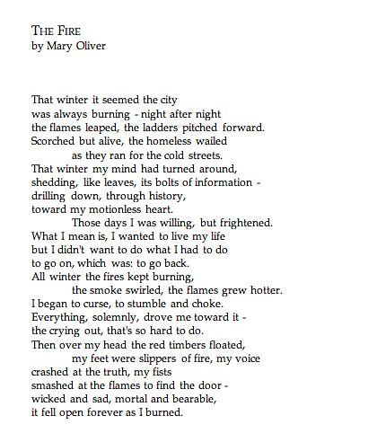 fire mary oliver  mary olivers dream work