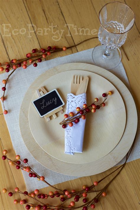 eco friendly fall place settings ecopartytime