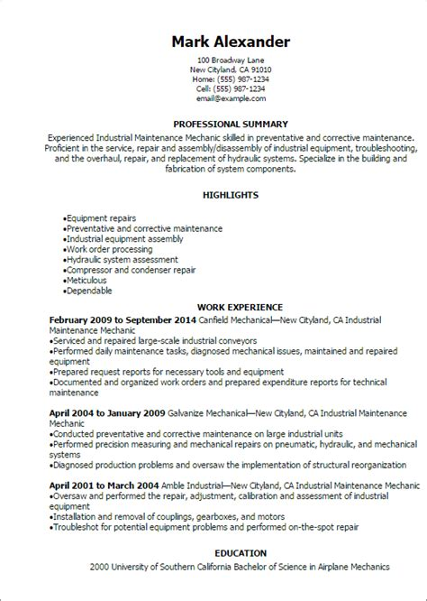 Mechanic Resume Summary by Professional Industrial Maintenance Mechanic Resume