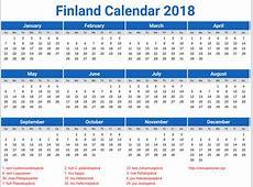 Tulostettava kalenteri 2018 Printable 2018 calendar Free