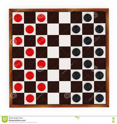 checkers board and pieces 3d illustration stock