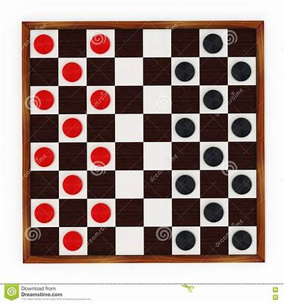 Checkers Board Pieces Clipart Illustration 3d Draughts